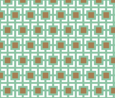 Moroccan square duo in mint and brown fabric by fridabarlow on Spoonflower - custom fabric