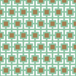 Moroccan square duo in mint and brown