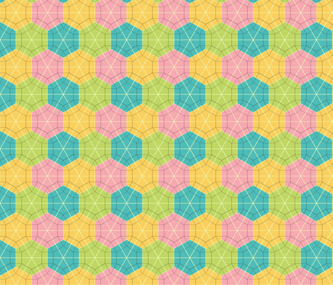 Colorful Tessellated Hexagonal Wheel - Pink, Yellow, Blue, Green fabric by zephyrus_books on Spoonflower - custom fabric