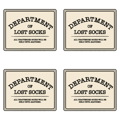 Department of Lost Socks Labels