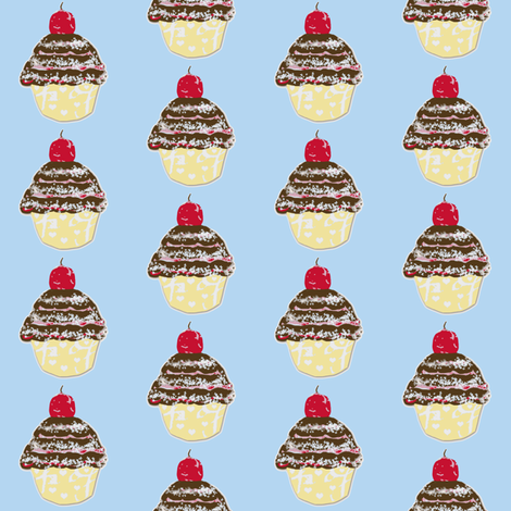 Cupcake Love on light blue fabric by karenharveycox on Spoonflower - custom fabric
