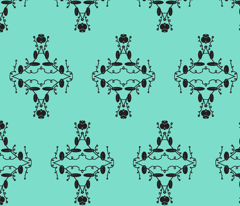 Turquoise and Black Damask fabric by captiveinflorida on Spoonflower - custom fabric