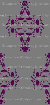 Gray and Purple Damask