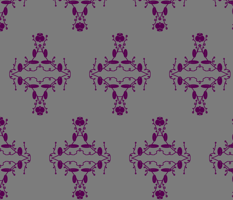Gray and Purple Damask fabric by captiveinflorida on Spoonflower - custom fabric