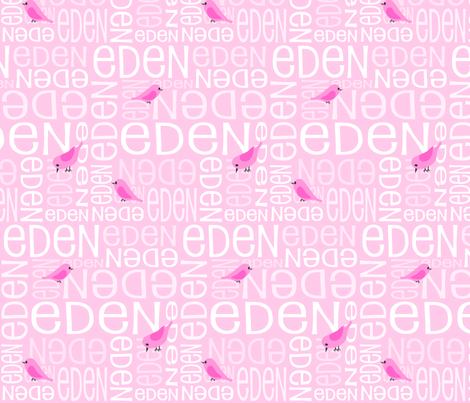Personalised Name Fabric - Pink Birds fabric by shelleymade on Spoonflower - custom fabric