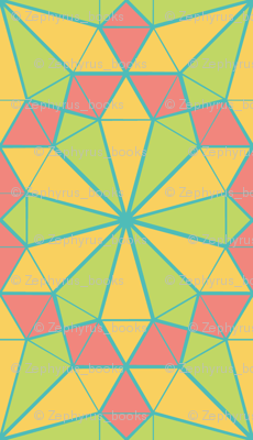 Colorful Tessellated Pointed Wheel - Pink, Yellow, Blue, Green