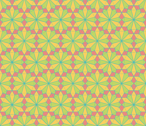 Colorful Tessellated Pointed Wheel - Pink, Yellow, Blue, Green fabric by zephyrus_books on Spoonflower - custom fabric