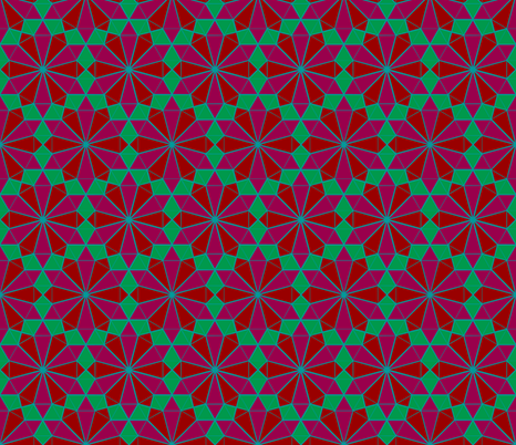 Colorful Tessellated Pointed Wheel - Pink, Red, Blue, Green fabric by zephyrus_books on Spoonflower - custom fabric