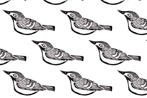 Hand Carved - Black-Capped Vireo fabric by owlandchickadee on Spoonflower - custom fabric