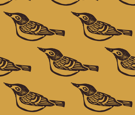 Black Capped Vireo large - Honeycomb fabric by owlandchickadee on Spoonflower - custom fabric