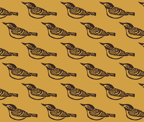Black Capped Vireo - Honeycomb fabric by owlandchickadee on Spoonflower - custom fabric