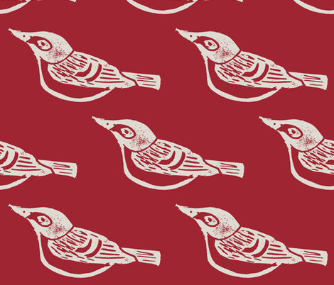 Black Capped Vireo Large - Cranberry/Cream fabric by owlandchickadee on Spoonflower - custom fabric