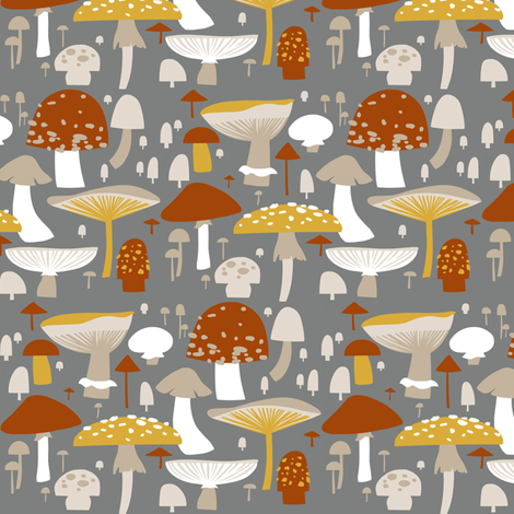 mushrooms fabric by h_e_clark on Spoonflower - custom fabric