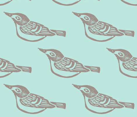 Black Capped Vireo Large - Bluebird -ch fabric by owlandchickadee on Spoonflower - custom fabric