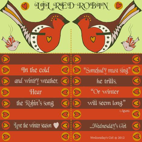 Lil Red Robin fabric by wednesdaysgirl on Spoonflower - custom fabric