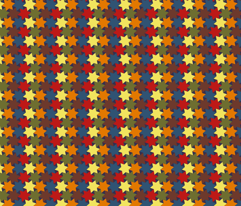 Stars - Brown, Green, Yellow, Red and Blue on Dark Blue Background