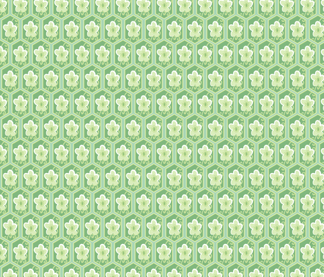 honeycomb cherry - emerald fabric by fox&lark on Spoonflower - custom fabric