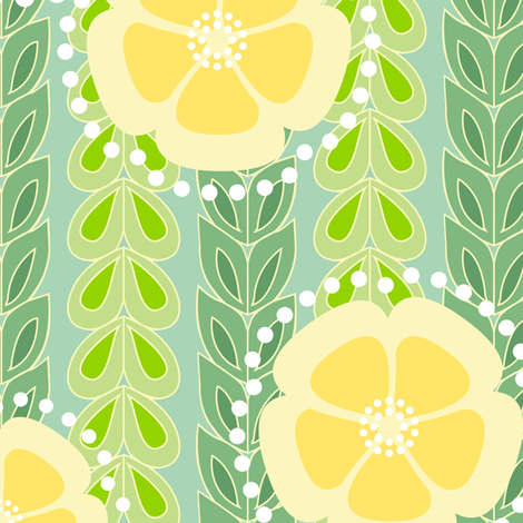 kanzashi willow - spring green fabric by fox&lark on Spoonflower - custom fabric