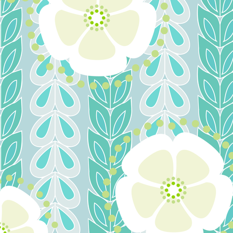 kanzashi willow - teal blues fabric by fox&lark on Spoonflower - custom fabric