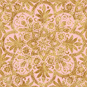 Bourgogne Tile ~ Gilt Gold and Dauphine Pink