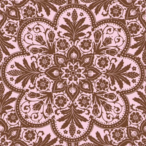 Bombay Tile ~ Brown and Pink fabric by peacoquettedesigns on Spoonflower - custom fabric