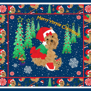 Yorkie Christmas Quilt Panel PIllows