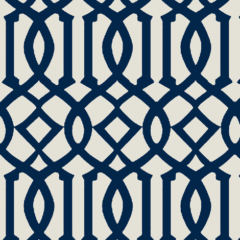 Imperial Trellis-Navy-reverse fabric by mrsmberry on Spoonflower - custom fabric