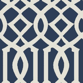Imperial Trellis-Navy-Large