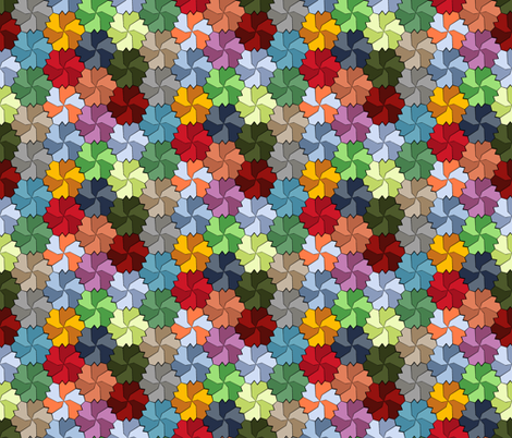 Colorful Floral Tessellated Hexagon - Red, Blue, Green, Yellow, Purple, Orange, Pink fabric by zephyrus_books on Spoonflower - custom fabric