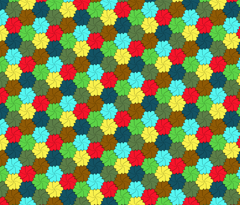 Colorful Floral Tessellated Hexagon - Green, Yellow, Red Brown, Blue fabric by zephyrus_books on Spoonflower - custom fabric