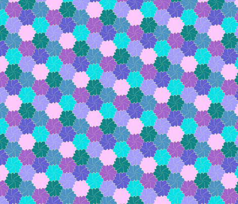 Colorful Floral Tessellated Hexagon - Blue, Pink, Pale Purple, Dark Purple