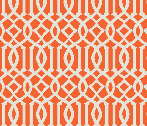 Imperial Trellis-Orange/Off White fabric by melberry on Spoonflower - custom fabric