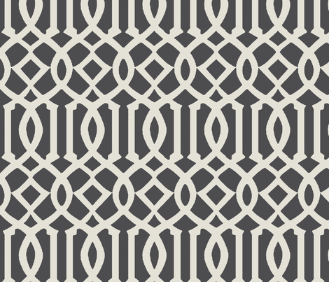 Imperial Trellis-Dark Gray-Large fabric by mrsmberry on Spoonflower - custom fabric