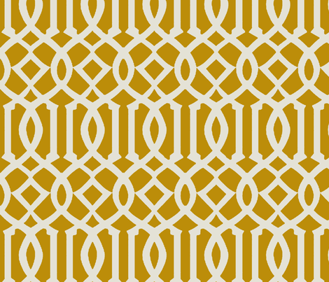 Imperial Trellis-Mustard-Large fabric by melberry on Spoonflower - custom fabric