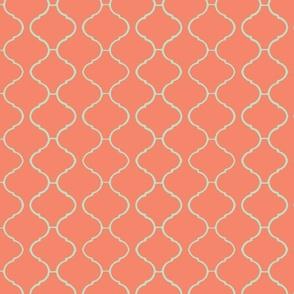 Moorish Tile Trellis Coral and Aqua