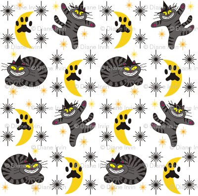 Magical Mr. Midnight in Charcoal & Marigold on White Background