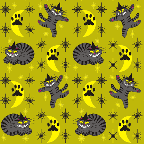 Magical Mr. Midnight in Charcoal &amp; Dusty Lime fabric by 3catsgraphics on Spoonflower - custom fabric