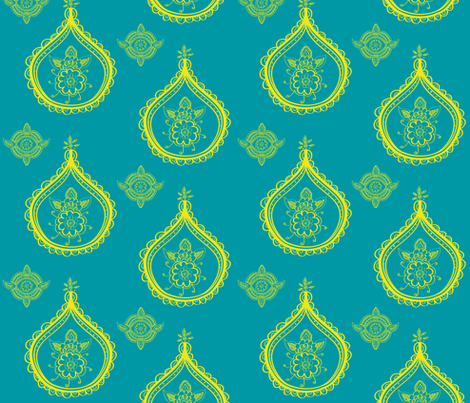 henna medallions yellow fabric by fable_design on Spoonflower - custom fabric