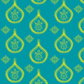 henna medallions yellow