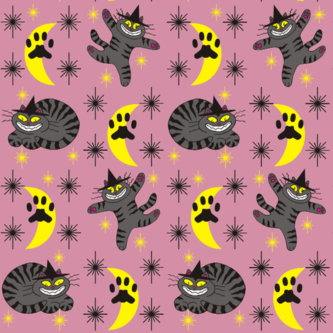 Magical Mr. Midnight in Charcoal &amp; Dusty Rose fabric by 3catsgraphics on Spoonflower - custom fabric