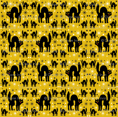 Retro Style Black Cats with Starbursts & Marigold Background