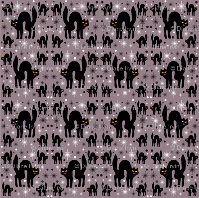 Retro Style Black Cats with Starbursts & Storm Cloud Background