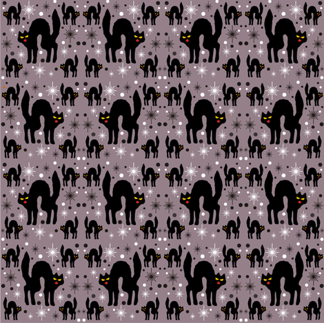 Retro Style Black Cats with Starbursts &amp; Storm Cloud Background fabric by 3catsgraphics on Spoonflower - custom fabric