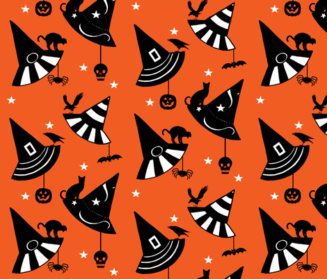 Halloween Hats - orange fabric by painter13 on Spoonflower - custom fabric