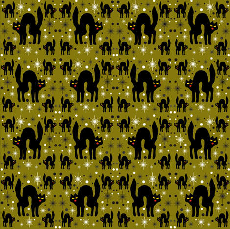 Retro Style Black Cats with Starbursts & Olive Background fabric by 3catsgraphics on Spoonflower - custom fabric