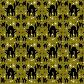 Retro Style Black Cats with Starbursts &amp; Olive Background