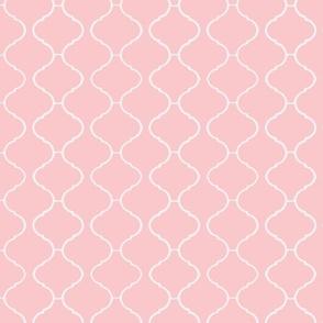 Moorish Tile Trellis Pink and White