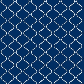 Moorish Tile Trellis Navy and White