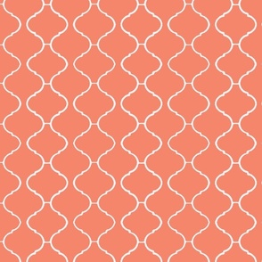 Moorish Tile Trellis Coral and White