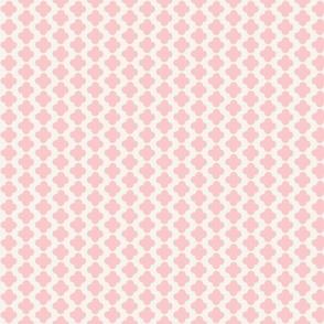 Quatrefoil Mini Print Pink and White
